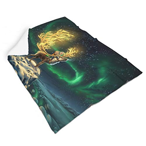 Magiböes Flannel Child Deer Aurora Borealis Sky Snow Night Print Creative Home Decoration Home Decor White 140 x 180 cm