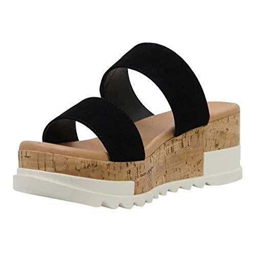 Sandalen Damen Sommer mit Absatz Wedges Schuhe Open Toe Hausschuhe Atmungsaktive Keilabsatz Strandsandalen Slip-On Casual Slippers, Schwarz, 40 EU