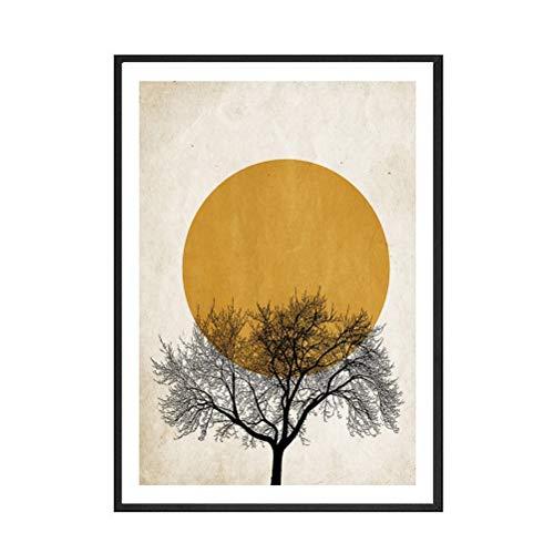 DFSDG Nordische Wintermorgen Sonne Wandkunst Leinwand Malerei Einfache Poster und Druckerei Dekor Bild für Mädchen Schlafzimmer Moderne Wohnkultur (Size : 30x40cm Frameless)