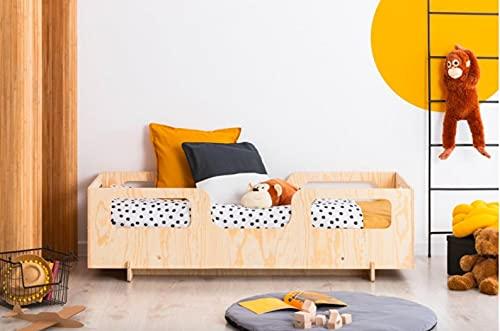 Mami | Cama para niños | Cuna Montessori Monkey | Colchón Smart (no incluido) Altura niño | Color madera natural | Grabado personalizado con el nombre