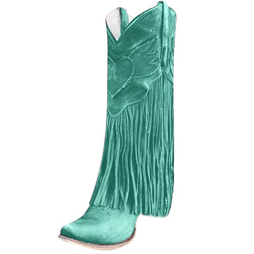 Lowest Price! Hopwin Women's Western Fringe Boots | Pointed Toe Low-Heeled Cowgirl Mid Calf Boots fo...