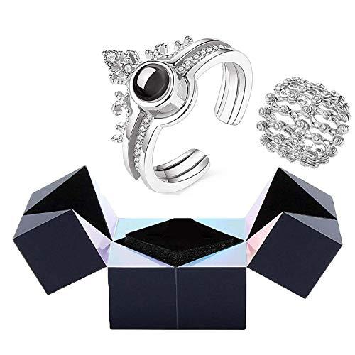 3pcs Creative Ring Armband Und Puzzle Schmuckschatulle, Ich Liebe Dich Projektionsring in 100 Sprachen, Magic Puzzle Ring Box Rotierende Aufbewahrungsbox Schmuckgeschenk Für Freundin (Silber)