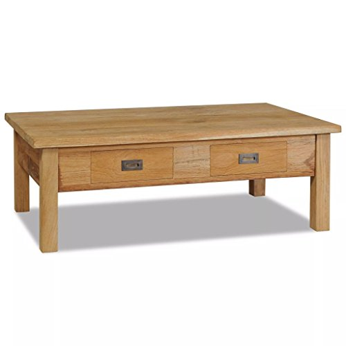 Festnight Table Basse en Teck Massif Style Colonial Table d'appoint Vintage 100 x 60 x 35cm