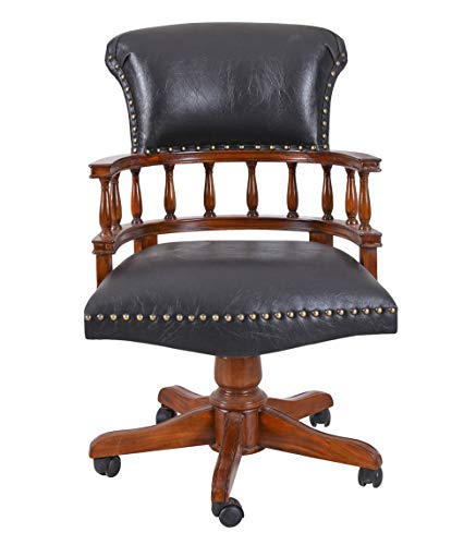 Unbekannt Captains Chair Drehstuhl Antik Bürosessel Ledersessel Bürostuhl auf Rollen mar148 Palazzo Exklusiv