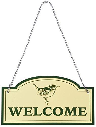 Plaque métallique murale Plaque avec chaîne Crème avec inscription \'Welcome\' Police verte et oiseau