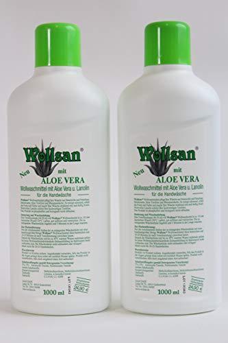 Wollsan Feinwaschmittel mit Aloe Vera für Wolle und Feines, Matratzenreinigung, 2 Flaschen a 1000ml im Set