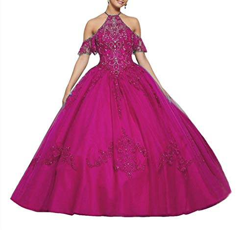 Emmani Women's Off The Shoulder Quinceanera Dresses Lace Appliques Prom Pageant Ball Gown for Sweet 16 Fuchsia (Apparel)