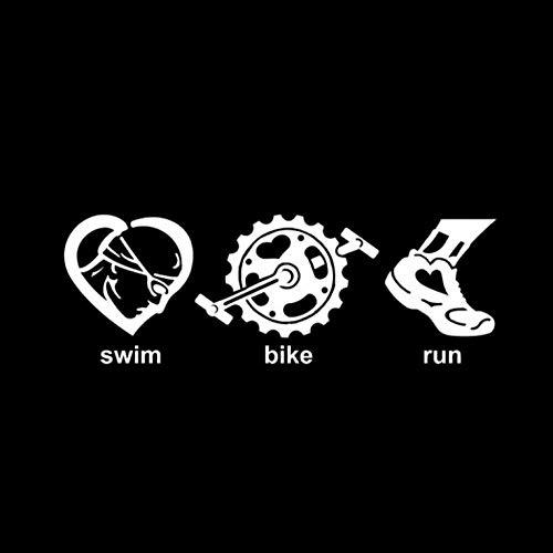 ALADKF Autoaufkleber Triathlon Run Und Fahrrad Schwimmen Dekor Auto Aufkleber Schwarz Silber Vinyl Aufkleber Für Motorhaube, Motorhaube, Dach, Kofferraum 16,9 * 5,8 cm 2PCS