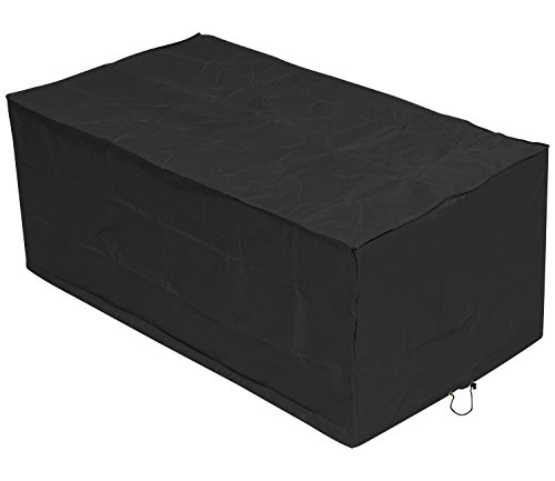 Woodside Black 6 Seater Rectangular Waterproof Outdoor Garden Patio Table Cover Heavy Duty 600D Material 0.7m x 1.72m x 0.94m / 2.3ft x 5.6ft x 3.1ft 5 YEAR GUARANTEE