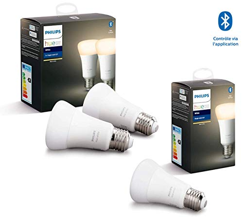 Philips Hue Ampoule LED Connectée White E27 Compatible Bluetooth, Fonctionne avec Alexa + Pack de 2 ampoules connectées White & Color flamme E14 - Fonctionne avec Alexa