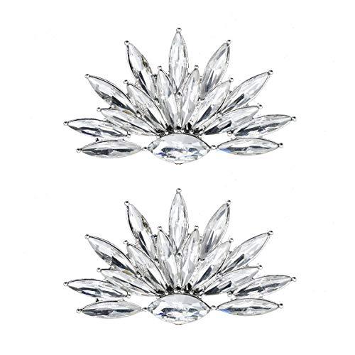FENICAL 2pcs Zapatillas Clips decoración Rhinestone Cristales encantos Hebilla de Zapatos para...