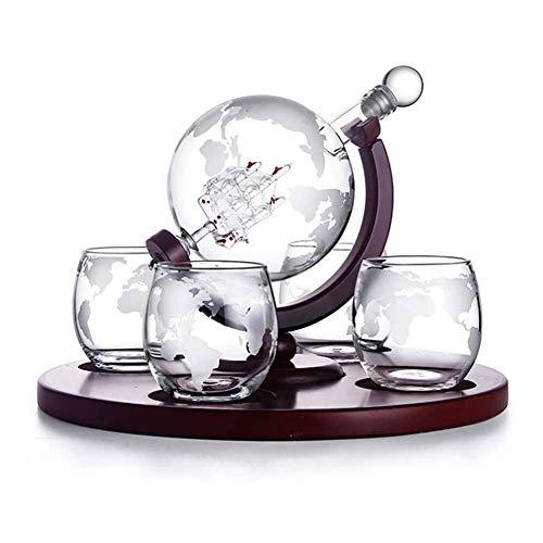 Conjunto de gafas de whisky Set Whiskey Jart Set Whiskey Decanter Globe Set con 4 gafas de whisky de globo grabado  Para el alcohol, escocés, Borbón, Regalos de Vodka para papá  850 ml