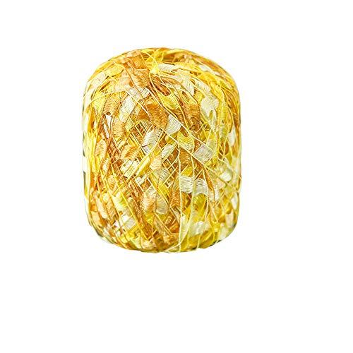 Clisil 3.5oz Ladder Glitz Yarn Ribbon Yarn Chic DIY Crochet Knitting Bag Sweater AccessoryYarn (Gold Yellow)