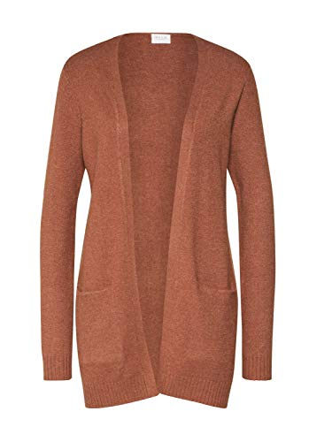 VILA CLOTHES Damen VIRIL L/S OPEN KNIT CARDIGAN-NOOS Strickjacke, Rawhide/Detail:MELANGE, M