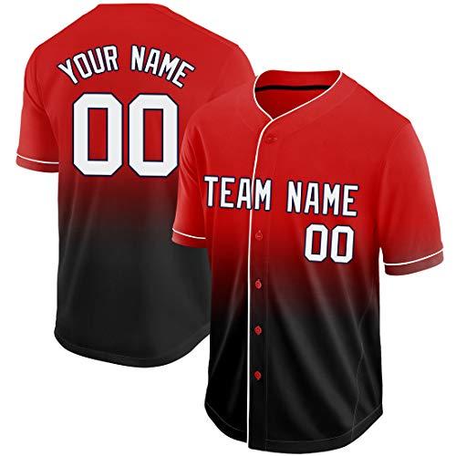 Red Black Custom Baseball Jerseys for Kids Men Women, Athletic Gradient Jerseys Shirts Embroidery(Red Black JB-27HR, Men-2XL(US Size))