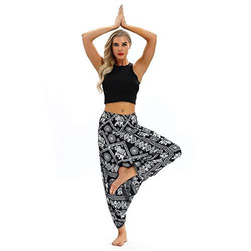 KKIMISPORT Damen Yogahosen Freizeit Loose-Legged Pants Printed High-Waist Seaside Holiday Ycl 038 Einheitlicher Code