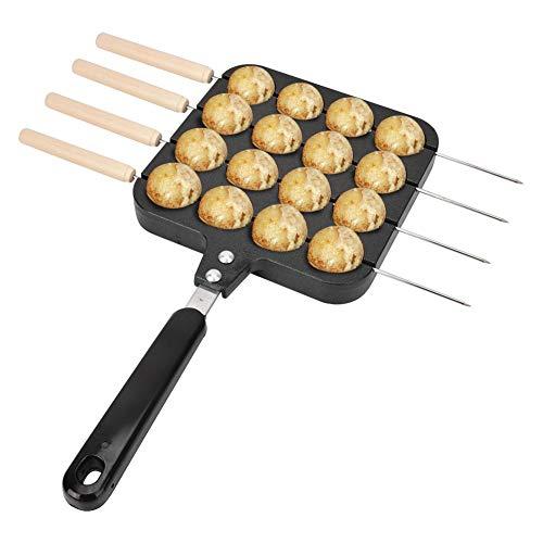 Takoyaki Grillpfanne,Takoyaki Pfanne mit Griff Takoyaki Grill Pan Antihaft Takoyaki Grillpfannenplatte Backform Tablett Octopus Pellets Schimmel Takoyaki Pfanne 16 Löcher,4 Backnadeln