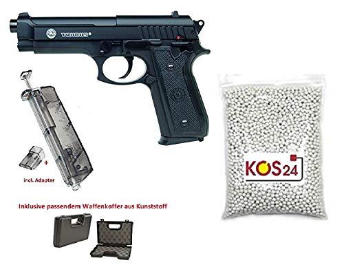 KOSxBO XXL Softair Set Taurus PT92 mit BAX System Airsoft Pistole mit Metallschlitten - Stärke 0,5 Joule inklusive Waffenkoffer, Speedloader und 1000 Premium BBS - Large Gun Set - Metal Slide