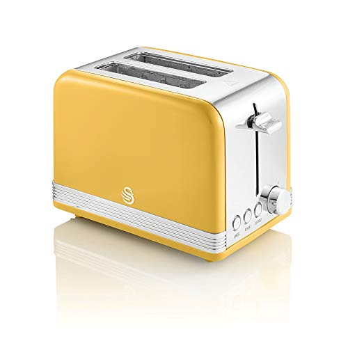 Swan 2 Slice Retro Toaster, Yellow, Defrost, Cancel and Reheat Functions, Slide out Crumb Tray, ST19010YELN