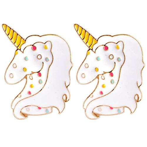 CoSunny - Juego de 2 broches de Unicornio con Pin, Color Blanco