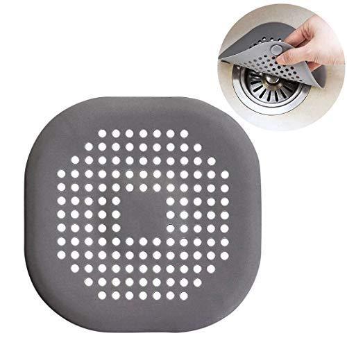 Abflusssiebe, Outgeek 3 STÜCKE Waschbecken Sieb Silikon Drain Sieb Kanalfilter Wasser Stopper für Küche Bad (3PCS- Grau)