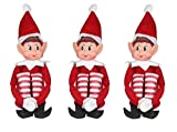 Elves Behavin' Badly 12 Inch Long Leg Soft Body Vinyl Face Elf with Hat & Tag (12 Inch. 3-Unit)