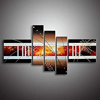 DIU Oil Painting Hand Painted 5 Panel Set Abstract Modern Line Flower Wall Art Canvas Home Decoration Picture For Living R...