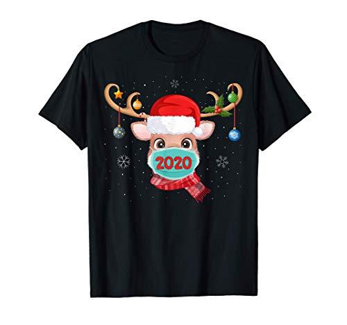 Reno con mascarilla Navidad 2020 Familia Pijamas Navidad Camiseta