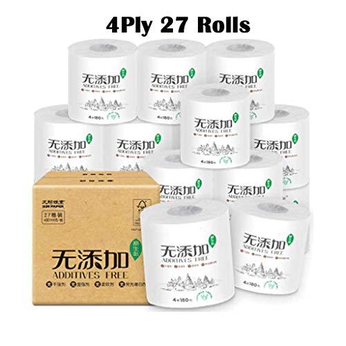 Toiletpapier Handdoeken, Originele Ecologische Gezondheid Zonder Toegevoegd Verpakte Gezaaide Rollen (1Box = 27Rollen)-4-Ply, Wit