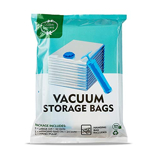 TashiLiving Vacuum Storage Bags, Space Saver Travel Bags for Clothes, Bedding, Pillows, Comforters 6 Pack (Large - 5 Pack 24' x 32' + 1 Hanging Bag) with Hand-Pump for Travel