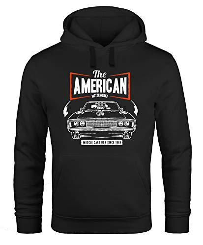 Neverless Hoodie Herren American Muscle Car Auto Tuning Retro Kapuzenpullover schwarz XL