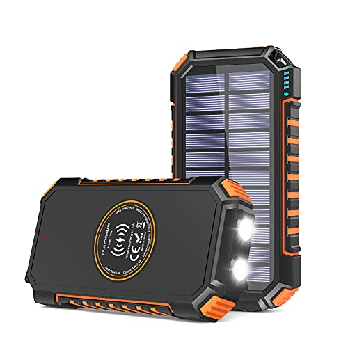 Solar Charger 26800mAh, Riapow Solar Power Bank 4 Outputs USB C Quick Charge Qi Wireless Portable Charger with LED Flashlight for iPhone, Tablet,...