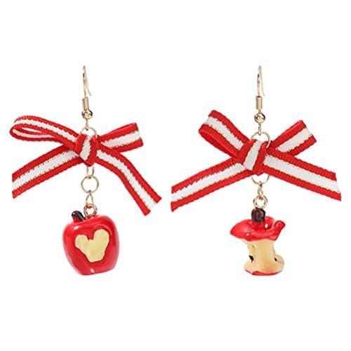 Generic 1 par de pendientes de manzana roja en 3D con diseo de frutas navideas con lazo, colgante de oreja de nudo para Navidad, Accin de Gracias, elegante joyera femenina para mujeres y nias