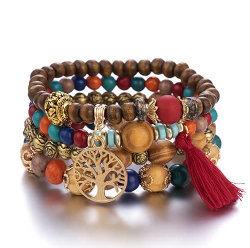 Branets Pulseras de madera bohemia con cuentas para mujer con múltiples capas y borlas elásticas, conjunto de pulseras de árbol de la vida