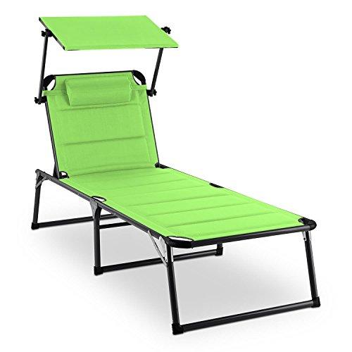 blumfeldt Amalfi Juicy Lime Liegestuhl Sonnenliege Gartenliege Liegefläche (ergonomische Form, verstellbare Sonnenblende, 5-stufig verstellbare Rückenlehne, Metallrahmen, Pulverbeschichtung) grün