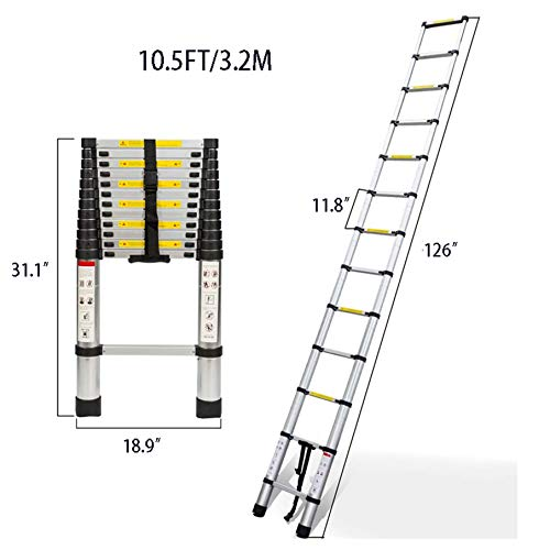 netuera Aluminum Telescopic Extension Ladder Collapsible Ladder, One-Button Retraction Extension Ladder,Multi-Use, 330 lbs Capacity,10.5FT / 3.2M 12.5FT / 3.8M 14.5FT / 4.4M