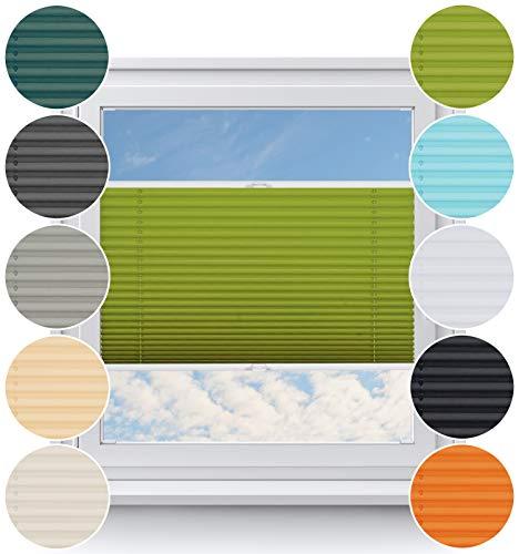Rollo Studio Plissee nach Maß, Fenster Montage in Glasleiste mit Bohren, Verdunklung Rollos, für Fenster und Balkontür, Verdunklungsrollo, Sonnenschutz Jalousien, Plisseerollo, Grün