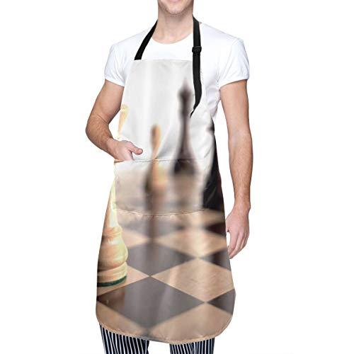 COFEIYISI Delantal de Cocina Ajedrez de cabeza de caballo Tablero de ajedrez a cuadros a cuadros negro marrón Delantal Chefs Cocina para Cocinar/Hornear
