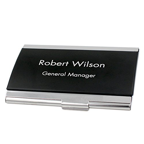 Personalized Black and Silver Steel Business Card Holder Case | Free Engraving