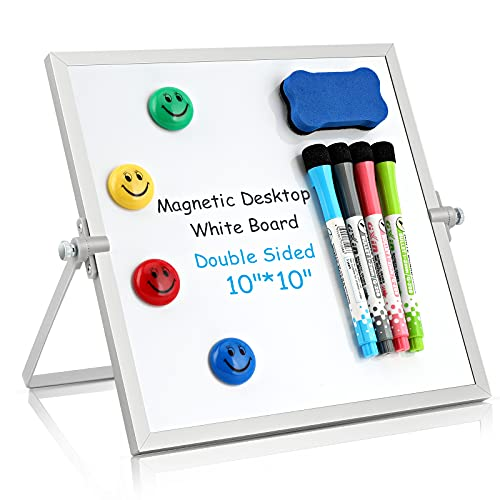 """Dry Erase White Board, Small Magnetic Desktop Whiteboard 10""""X10"""" with Stand, 4 Markers, 4 Magnets, 1 Eraser, Portable Double-Sided White Board Easel for Kids/Drawing/Memo/to Do List/Wall/Desk/School"""