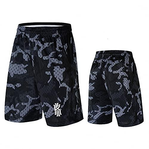 AGLT Pantalones cortos de baloncesto elásticos de los deportes de la canasta de la ropa deportiva suelta de la competencia de los hombres con la cremallera,, B, 4XL