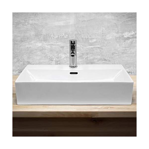 ECD Germany Lavabo Cerámico Rectangular con Agujero Conexión Estandar – Blanco – Lavamanos sobre Encimera – 515 x 360 x…