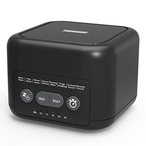 Portable White Noise Sound Machine for Sleeping, Baby, Kids, Adult & Office Privacy, Travel SoothingBox with 72-Hour Playtime, Auto-Off Timer, 8 Therapy Soothing Sounds, 3.5mm Headphone Jack - Black