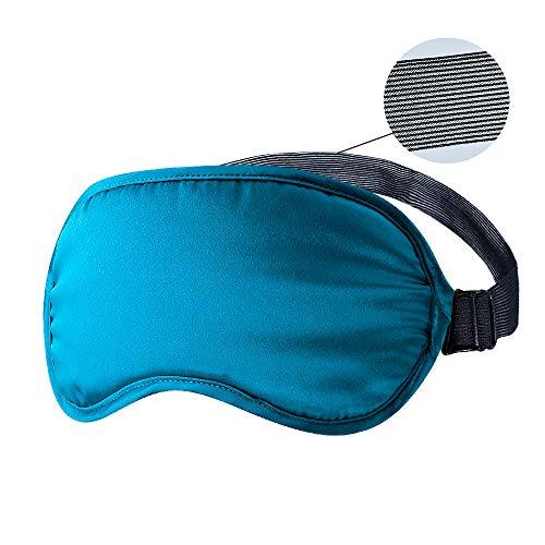 OLESILK 100{80206576668af62f93a3082d5891b33c8ac74d9026b63f39b3e44045dbb2d78f} Seide einstellbare Schlafmaske Augenmaske Reise Schlafbrille mit breiterem und atmungsaktivem Band Unisex für Damen und Herren, Pfauenblau