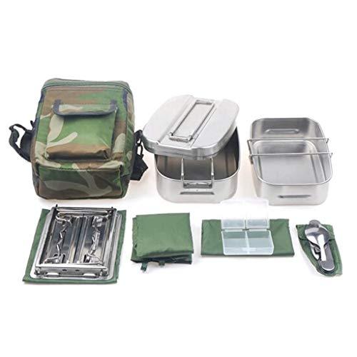 ECSWP HWCJYYL Cantina Utensilios de Cocina Set Camping Cantina Mess Kit Cantino de Acero Inoxidable con Miness Tin Lid Stove Cuchara Tenedor