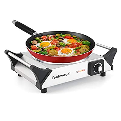 Techwood Hot Plate Single Burner Electric Ceramic Infrared Portable Burner, 1200W with Adjustable Temperature, Stay Cool Handles, Non-Slip Rubber Feet, Stainless Steel Easy To Clean, Upgraded Version