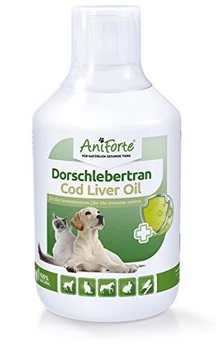 AniForte Dorschlebertran für Hunde, Katzen & Pferde 500 ml - Natürliche Quelle, Barföl mit Vitaminen & Omega-3 Fettsäuren EPA & DHA, Unterstützung Knochenaufbau, Abwehrkräfte & Immunsystem