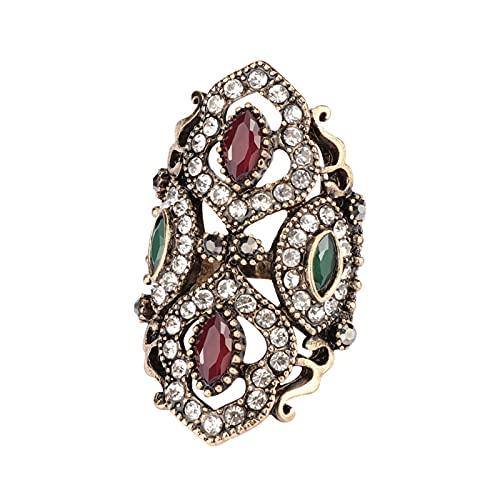 EzzySo Anillo de Piedras Preciosas en Forma de Diamante, Estilo de Palacio Retro Americana, con Joyas de Anillo de aleación (2 Piezas),Rojo,8