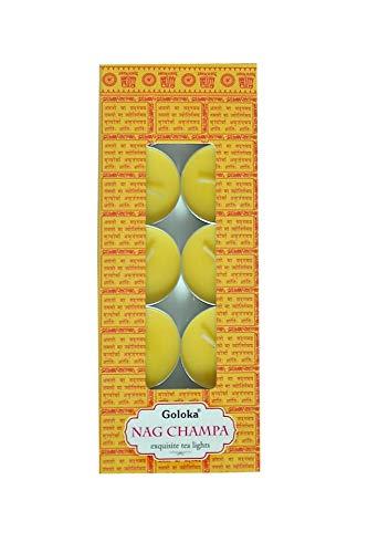 GOLOKA Nag Champa Tea Light Candle Single pack x 10 Pcs