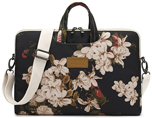 Dachee Black Peony Patten Waterproof Laptop Shoulder Messenger Bag Case Sleeve for 14 Inch 15 Inch...